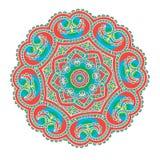 Härlig indisk blom- prydnad mandala Arkivbilder