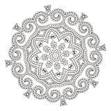 Härlig indisk blom- prydnad mandala stock illustrationer