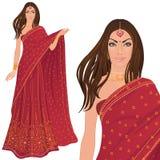 härlig indisk kvinna stock illustrationer