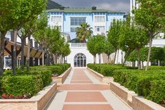Härlig invallning för att gå och sport i Amara Dolce Vita Luxury Hotel Alanya Turkiet Royaltyfria Bilder