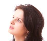 härlig isolerad kvinna för closeup framsida Royaltyfri Foto