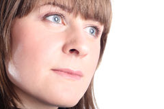 härlig isolerad vit kvinna Fotografering för Bildbyråer
