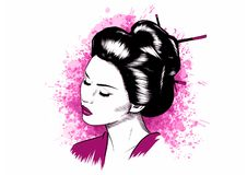 Härlig japansk illustration för GeishaHolds Red Fan vektor stock illustrationer