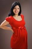 härlig joyful ståendegravid kvinna arkivfoton