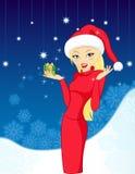 härlig julgåvaflicka Royaltyfri Fotografi