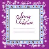 Härlig julkort med en ram av gåvor och snöflingor Vektorn sparar stock illustrationer