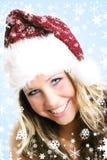 härlig julkvinna Arkivfoto