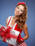 Härlig julkvinna Arkivbild