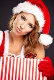 Härlig julkvinna Fotografering för Bildbyråer