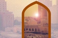 Härlig Jumeirah moské Dubai Förenade Arabemiraten UAE PÅ 21 JULI 2017 Arkivfoto