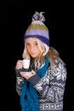 härlig kaffekopp som har kvinnan Fotografering för Bildbyråer