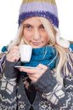 härlig kaffekopp som har kvinnan Royaltyfria Foton