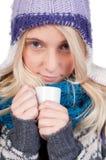 härlig kaffekopp som har kvinnan Arkivfoto