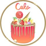 Härlig kaka med guld- toppningar och rosa kräm Logo för bageri stock illustrationer