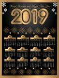 Härlig kalender 2019 för nytt år design med utrymme för ditt anmärkningar och datum royaltyfri illustrationer