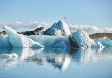 Härlig kall landskapbild av den icelandic glaciärlagunfjärden, Royaltyfria Bilder