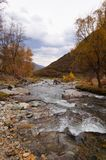 Härlig kanal på vägen från det Chemal området till Aktash, Ryssland fotografering för bildbyråer