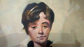 Härlig kanfasmålning av en flicka med oljamålarfärg, kan du använda som en bakgrund, dig kan använda som en bakgrund vektor illustrationer