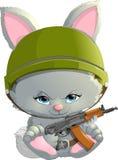 Härlig kanin med en Kalashnikov Royaltyfria Foton