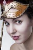 härlig karnevalflickamaskering Fotografering för Bildbyråer