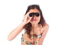 härlig kikare som ser kvinnan Fotografering för Bildbyråer