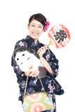 härlig kimonokvinna Royaltyfri Foto