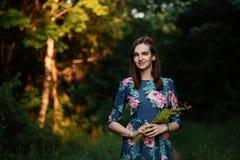 Härlig klänning för ung kvinna för brunett bärande och gå på skogsignalljuset för text och design gå för uour för plats för folk  Arkivbilder