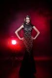 härlig klänningaftonflicka Royaltyfri Foto