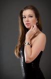 härlig klänningaftonkvinna Royaltyfria Bilder