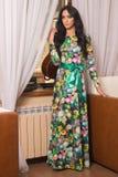 härlig klänningflicka long Royaltyfri Fotografi