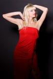 härlig klänningflickared Royaltyfri Bild