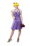 härlig klänningflickaviolet Royaltyfria Bilder