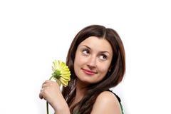 härlig klänninggreenkvinna Arkivfoton