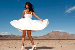 härlig klänningkvinna Royaltyfria Bilder