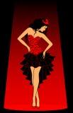 härlig klänningladyred Royaltyfria Bilder