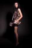 härlig klänningmodeflicka Royaltyfri Bild