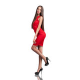 härlig klänningmodellred Arkivbild