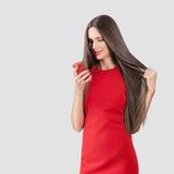 härlig klänningmodellred Royaltyfri Fotografi
