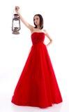 härlig klänningredkvinna Royaltyfri Foto