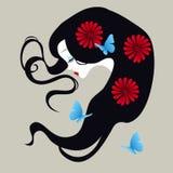 Härlig kontur av en flicka med blommor i hennes hår vektor illustrationer