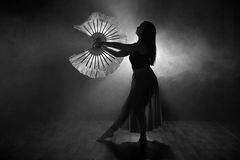 Härlig kontur av en flicka som dansar elegantly i rök och dimma Arkivfoto