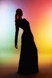Härlig kontur av kvinnan i aftonklänning Arkivfoton