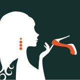 Härlig kontur för elegant kvinna som rymmer en sko Arkivbilder