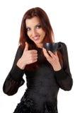 Härlig kopp för kvinnaWuth kaffe Fotografering för Bildbyråer