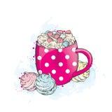 Härlig kopp i ärta varma marshmallows för choklad stock illustrationer
