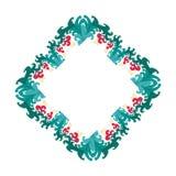Härlig krans Elegant blom- dragen ramhand Planlägg för inbjudan-, bröllop- eller hälsningkort Arkivfoto