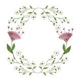 Härlig krans för vattenfärg Elegant blom- samling med isolerade sidor och blommor, dragen hand Design för Royaltyfria Foton