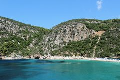 Härlig kust av den Skopelos ön Fotografering för Bildbyråer