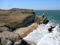 Härlig kust av det Azov havet Royaltyfria Bilder