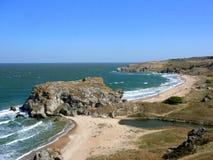 Härlig kust av det Azov havet Royaltyfria Foton